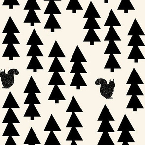 woodland squirrel fabric // black and cream forest trees woodland