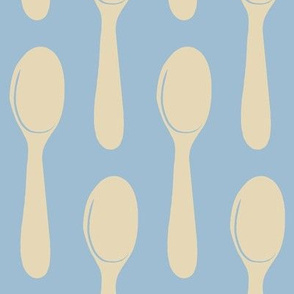 french blue spoons -creme