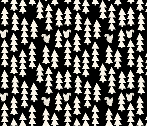 woodland forest trees // woodland forest trees squirrel kids baby  fabric by andrea_lauren on Spoonflower - custom fabric