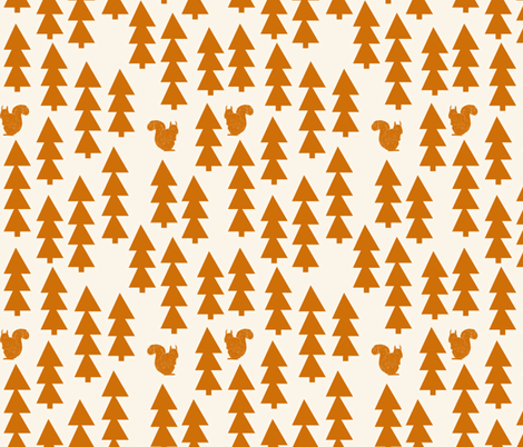 triangle trees fabric // woodland cream and rust orange trees forest fabric by andrea_lauren on Spoonflower - custom fabric