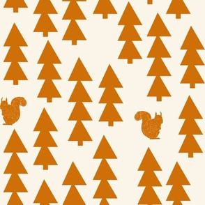 triangle trees fabric // woodland cream and rust orange trees forest