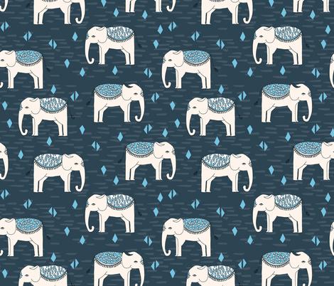 Elephant Parade - Parisian Blue/Chapagne/Soft Blue fabric by andrea_lauren on Spoonflower - custom fabric