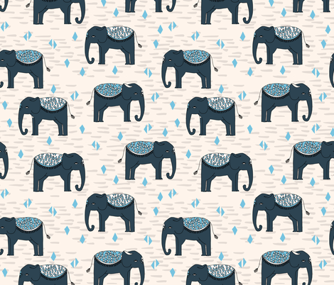 Elephants Parade - Champagne/Soft Blue/Parisian Blue fabric by andrea_lauren on Spoonflower - custom fabric