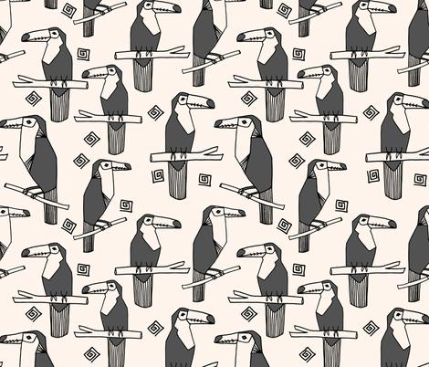 toucans // charcoal toucan bird tropical bird summer tropical toucans fabric by andrea_lauren on Spoonflower - custom fabric