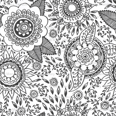 Henna Flowers Colour In Wallpaper Marylina Spoonflower