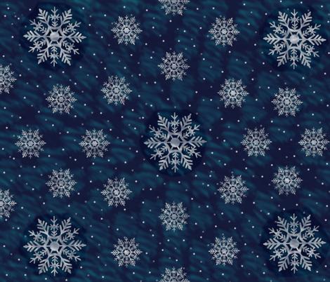 Snowy NIght - Backing Fabric for Winter Barn Owl fabric by karaskye on Spoonflower - custom fabric