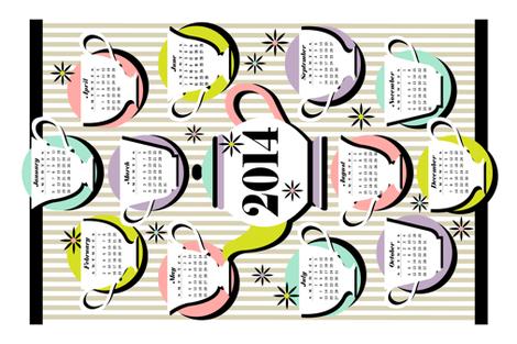 2014 Devo Teas Calendar fabric by celiaforrester on Spoonflower - custom fabric