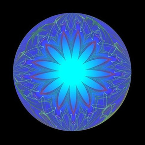 Blue and Green Glowing Fractal Ball