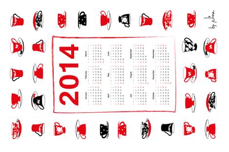 2014 Teacups Teatowel Calendar  fabric by moonrise on Spoonflower - custom fabric