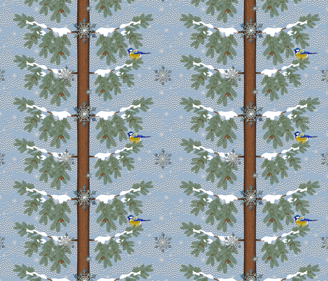 Blue Bird in Winter fabric by vannina on Spoonflower - custom fabric