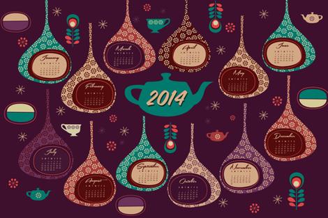 2014 Super Tea Towel Calendar fabric by misslife on Spoonflower - custom fabric