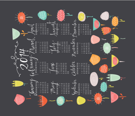 Tea Towel Calendar 2014 Flower Fun fabric by emilyannstudio on Spoonflower - custom fabric