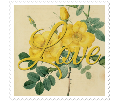 Love Stamp Flower by Joseph Redoute fabric by beckyhayes on Spoonflower - custom fabric