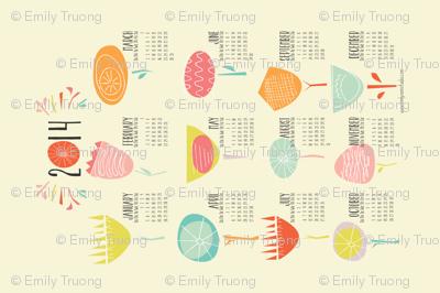 2014 Tea Towel Calendar Happy Floral