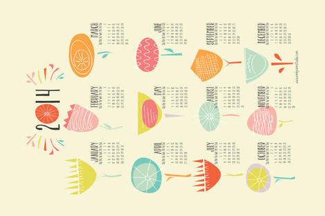 2014 Tea Towel Calendar Happy Floral fabric by emilyannstudio on Spoonflower - custom fabric