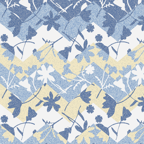 Faded Chevron blue garden fabric by mypetalpress on Spoonflower - custom fabric