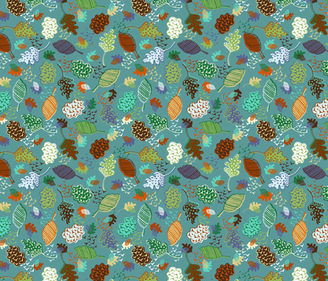 Swirling Autumn Leaves (Teal & Orange) fabric by radianthomestudio on Spoonflower - custom fabric