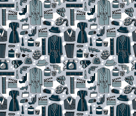 Film Noir // silent movies film andrea lauren fabric fabric by andrea_lauren on Spoonflower - custom fabric