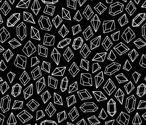 crystals // black and white gem design gems fabric gemstones fabric fabric by andrea_lauren on Spoonflower - custom fabric