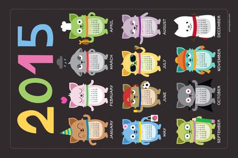 2015 Cat-lendar fabric by petitspixels on Spoonflower - custom fabric