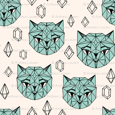Crystal Cat - Champagne/Pale Turquoise/Black