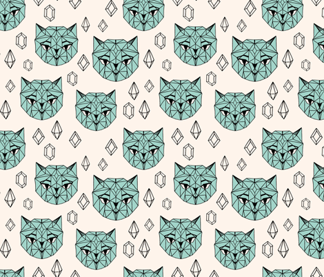 Crystal Cat - Champagne/Pale Turquoise/Black fabric by andrea_lauren on Spoonflower - custom fabric