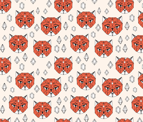 Crystal Cat - Champagne/Coral/White fabric by andrea_lauren on Spoonflower - custom fabric