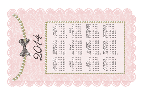 2014 Sweet Lace & Pearls Calendar fabric by happy_adventuress on Spoonflower - custom fabric