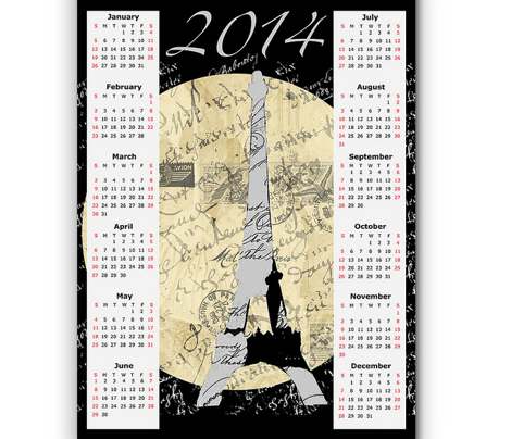 Eiffel Tower Moon, 2014 Calendar