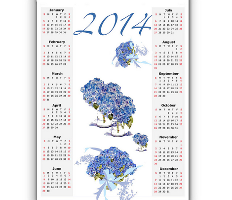 A Hydrangea Calendar for 2014