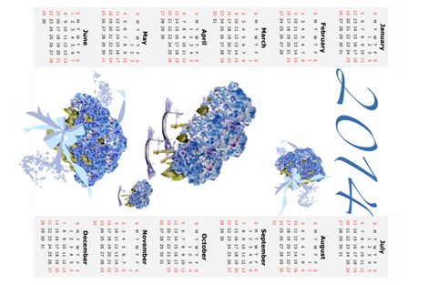 A Hydrangea Calendar for 2014 fabric by karenharveycox on Spoonflower - custom fabric