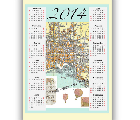 2014 tea towel Calendar map of Italy