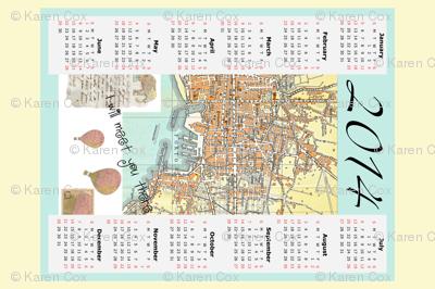 2014 tea towel Calendar map of Italy