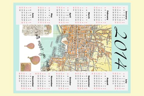 2014 tea towel Calendar map of Italy fabric by karenharveycox on Spoonflower - custom fabric
