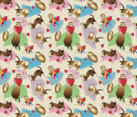 Ferrets Dance fabric by kittymackey on Spoonflower - custom fabric