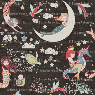 Mermaid Lullaby SMALL (Black Linen)