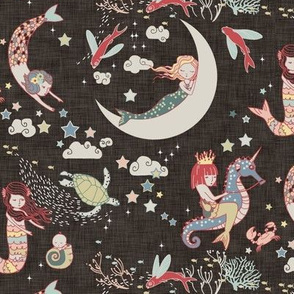 Mermaid Lullaby SMALL (Black Linen)
