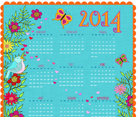 Foxy Love 2014 Calendar Tea Towel