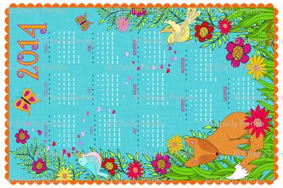 Foxy Love 2014 Calendar Tea Towel