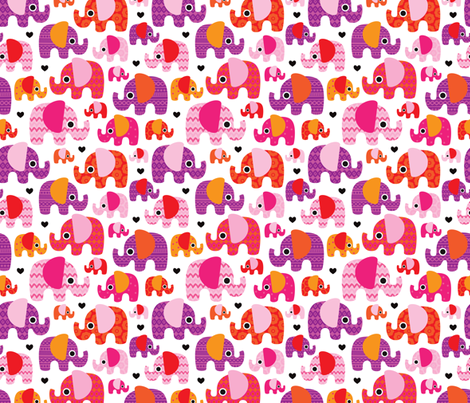 Pink hot aztec elephant parade fabric by littlesmilemakers on Spoonflower - custom fabric