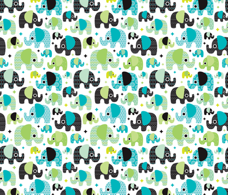 Blue boy aztec elephant parade fabric by littlesmilemakers on Spoonflower - custom fabric