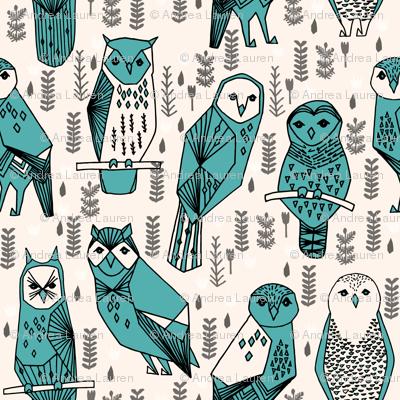 owls // hand-drawn owl bird illustration original designs by Andrea Lauren
