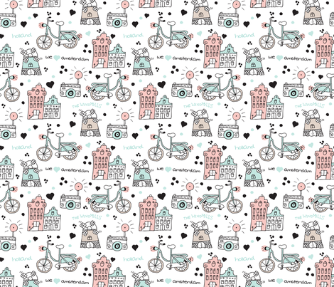 We love Amsterdam holland travel icon bike canal house and windmill design fabric by littlesmilemakers on Spoonflower - custom fabric