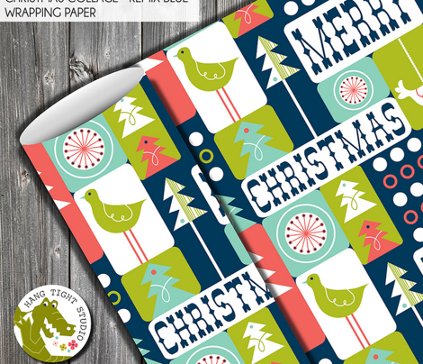 Christmas Collage - Midcentury Modern Holiday Remix Navy Blue