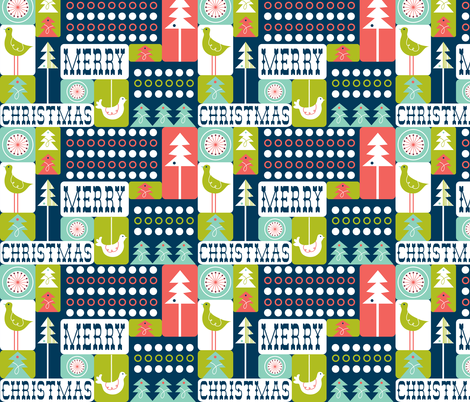 Christmas Collage - Midcentury Modern Holiday Remix Navy Blue fabric by heatherdutton on Spoonflower - custom fabric