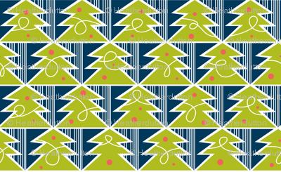 Trim A Tree - Retro Christmas Trees Remix Green & Navy