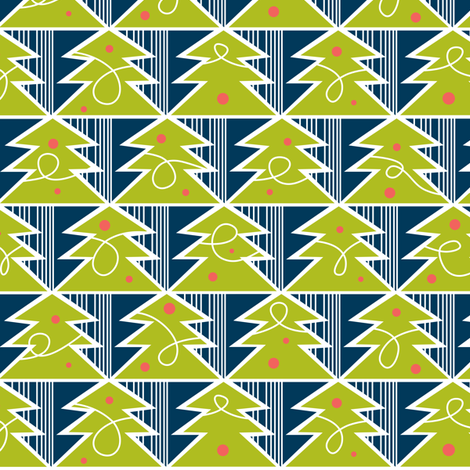 Trim A Tree - Retro Christmas Trees Remix Green & Navy fabric by heatherdutton on Spoonflower - custom fabric