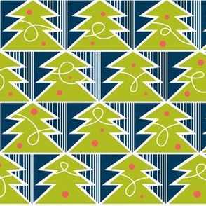 Trim A Tree - Retro Christmas Trees Remix Green & Navy