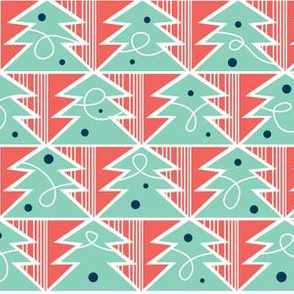 Trim A Tree - Retro Christmas Trees Remix Red & Aqua