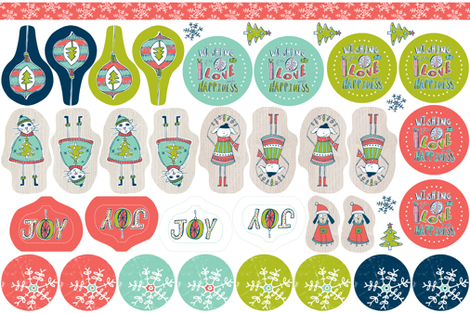 Christmas Ornaments / Tags Cut & Sew Project fabric by heatherdutton on Spoonflower - custom fabric